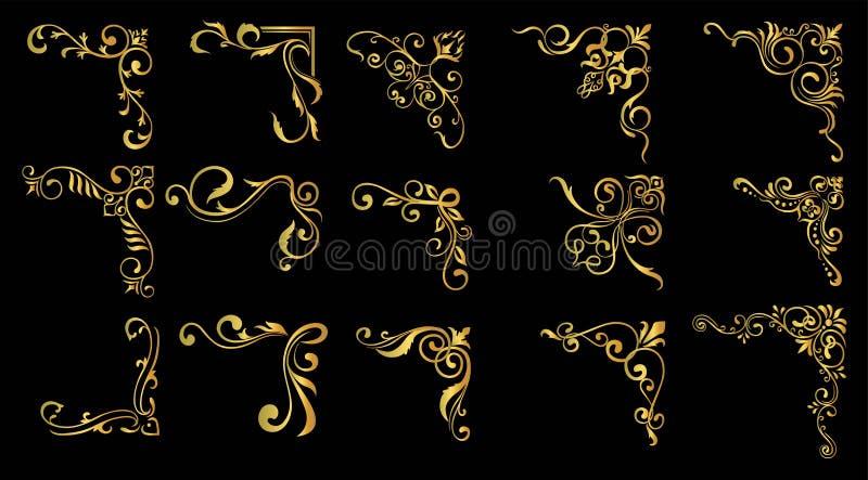Ajuste dos quadros florais do vintage decorativo e das beiras grupo do certificado, quadro da foto do ouro com canto ilustração do vetor