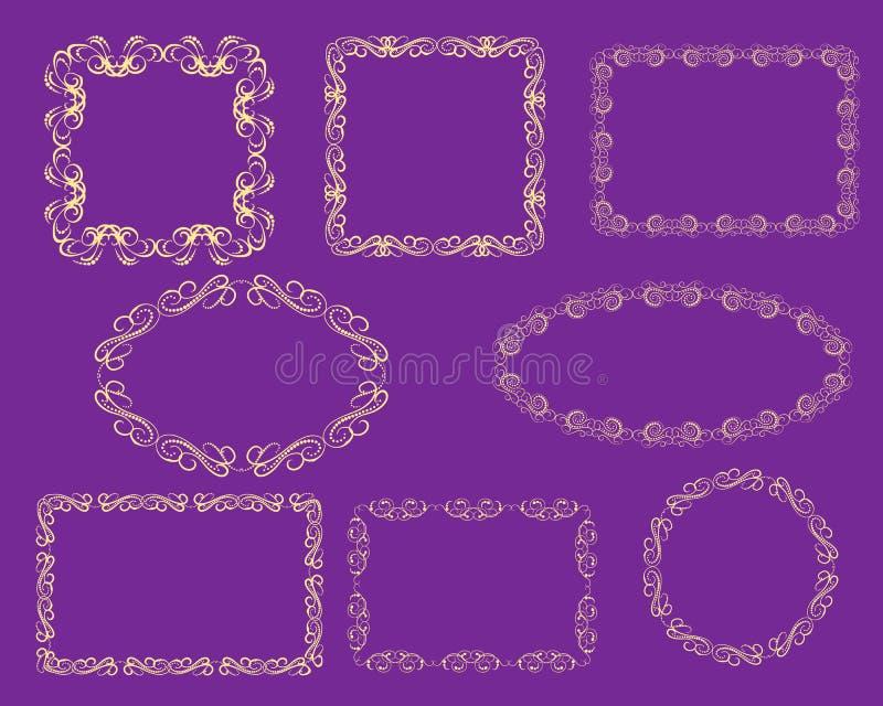 Ajuste dos quadros florish decorativos fotografia de stock