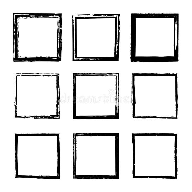 Ajuste dos quadros quadrados do vetor tirados por escovas da tinta ilustração stock