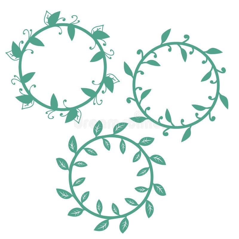 Ajuste dos quadros redondos florais isolados no fundo branco ilustração do vetor