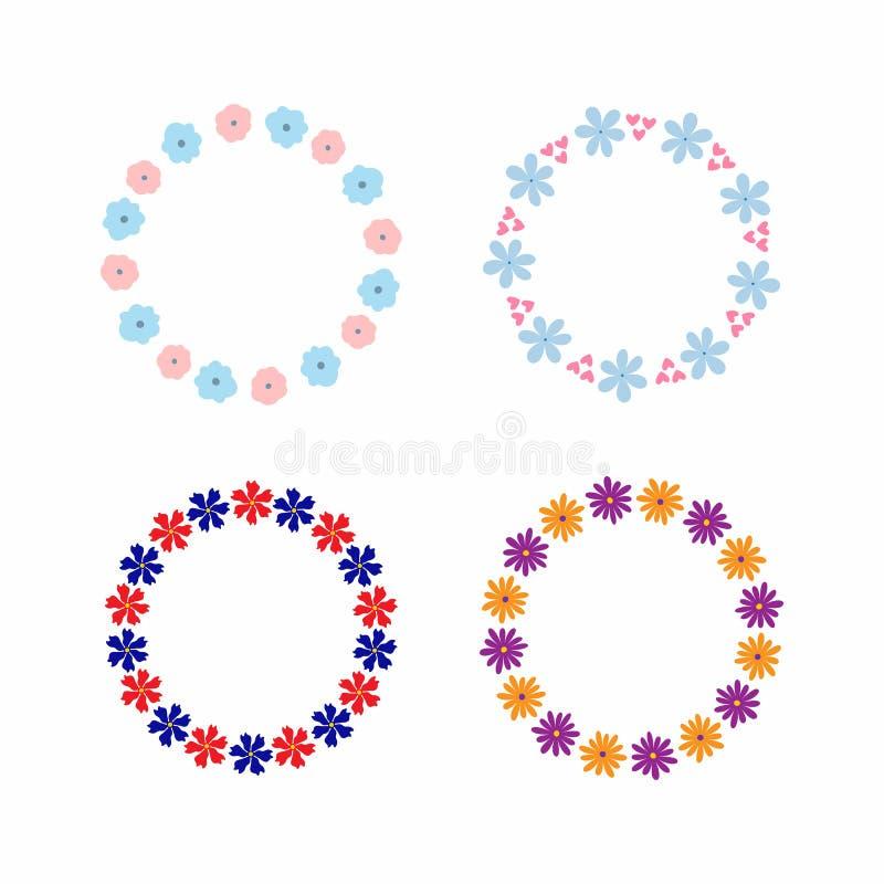 Ajuste dos quadros simples de flores abstratas Quatro beiras florais isoladas cor para o projeto ilustração royalty free