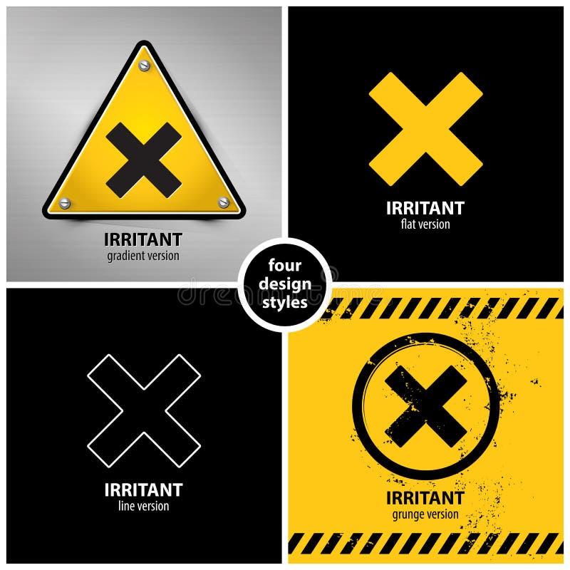 Ajuste dos símbolos químicos do perigo do irritante prejudicial ilustração royalty free