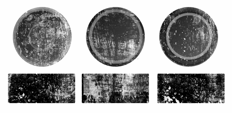 Ajuste dos selos pretos do círculo e do retângulo do grunge no fundo branco Crach?s e formas das etiquetas v?rias ilustração royalty free