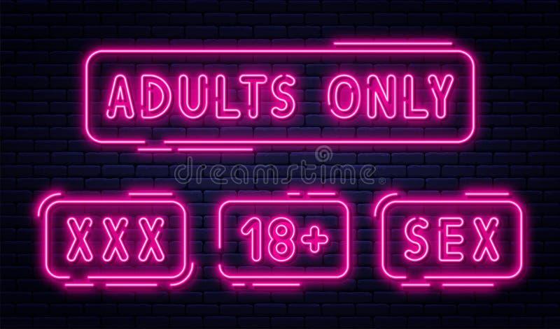 Ajuste dos sinais de néon, dos adultos somente, de 18 positivos, de sexo e de xxx Índice restrito, bandeira video erótica do conc ilustração stock