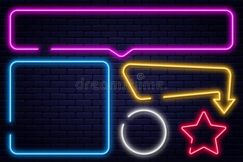 Ajuste dos sinais de néon, da seta, do retângulo, do quadrado, do círculo e da estrela Quadro claro de néon, bandeira de incandes ilustração royalty free