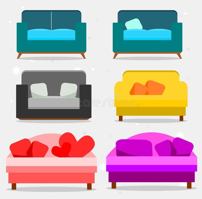 Ajuste dos sofás e dos descansos, coleção do sofá ilustração do vetor