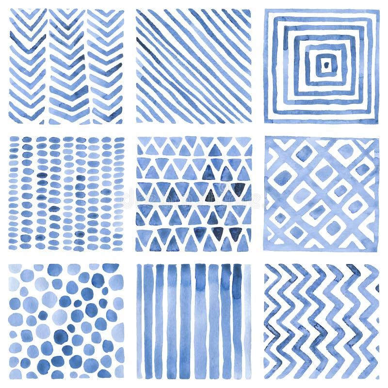Ajuste dos testes padrões da aquarela Ornamento azuis em um fundo branco Handwork ilustração stock