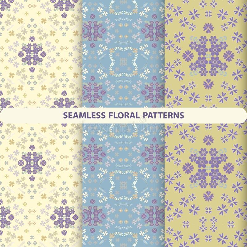 Ajuste dos testes padrões florais bonitos com elementos florais e botânicos ilustração royalty free