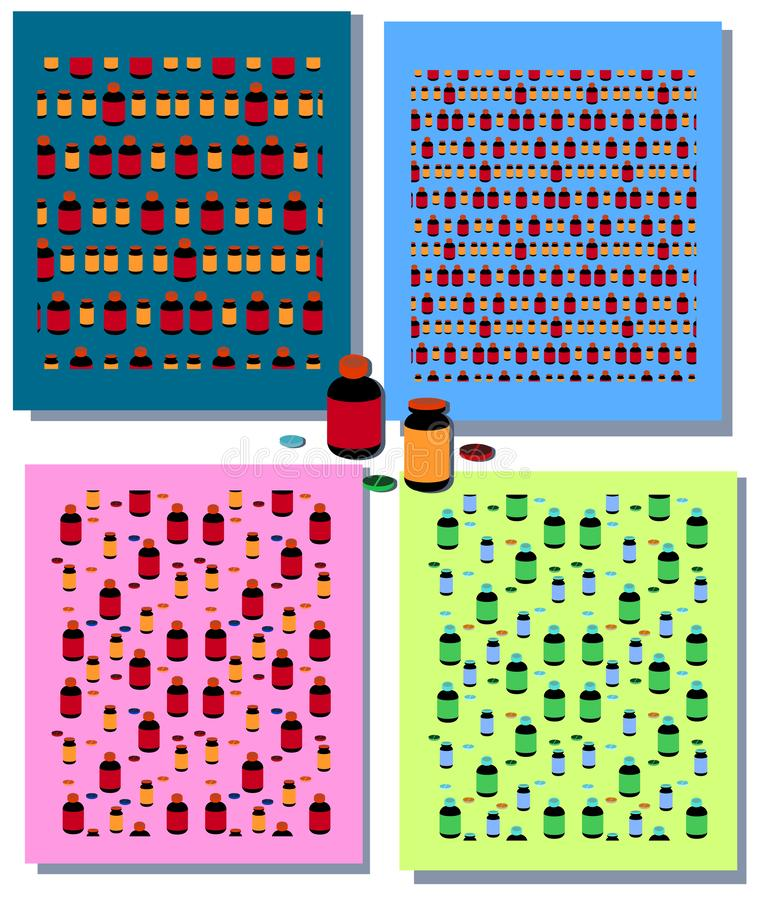 Ajuste dos testes padrões sem emenda com elementos médicos coloridos - tubo de ensaio, garrafa, tabuleta, cápsula Frascos e compr ilustração stock