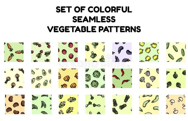 Ajuste dos testes padrões sem emenda dos vegetais coloridos Cole??o lisa do projeto de telhas da textura do fundo ilustração stock
