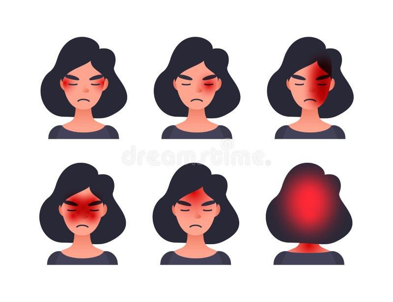 Ajuste dos tipos da dor de cabeça na área diferente da cabeça paciente Mulher com conjunto do tession e outros tipos principais d ilustração royalty free
