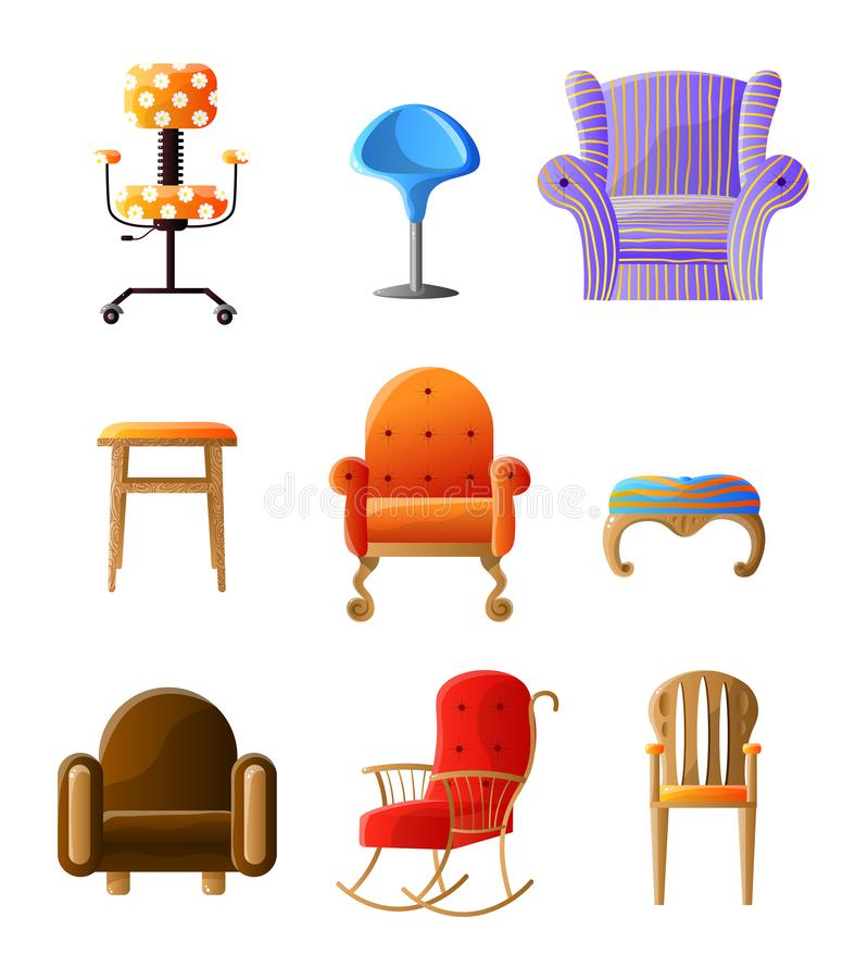 Ajuste dos tipos diferentes das cadeiras coloridas, confort?veis isolados no branco ilustração stock