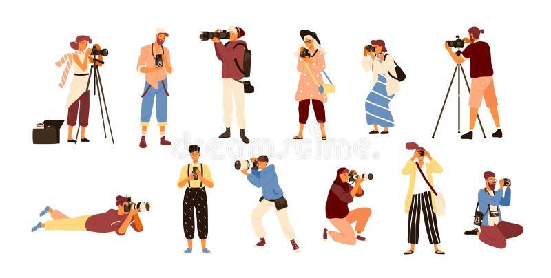 Ajuste dos vários fotógrafo que guardam a câmera e a fotografia da foto Profissão ou ocupação criativa Fêmea bonito e ilustração royalty free