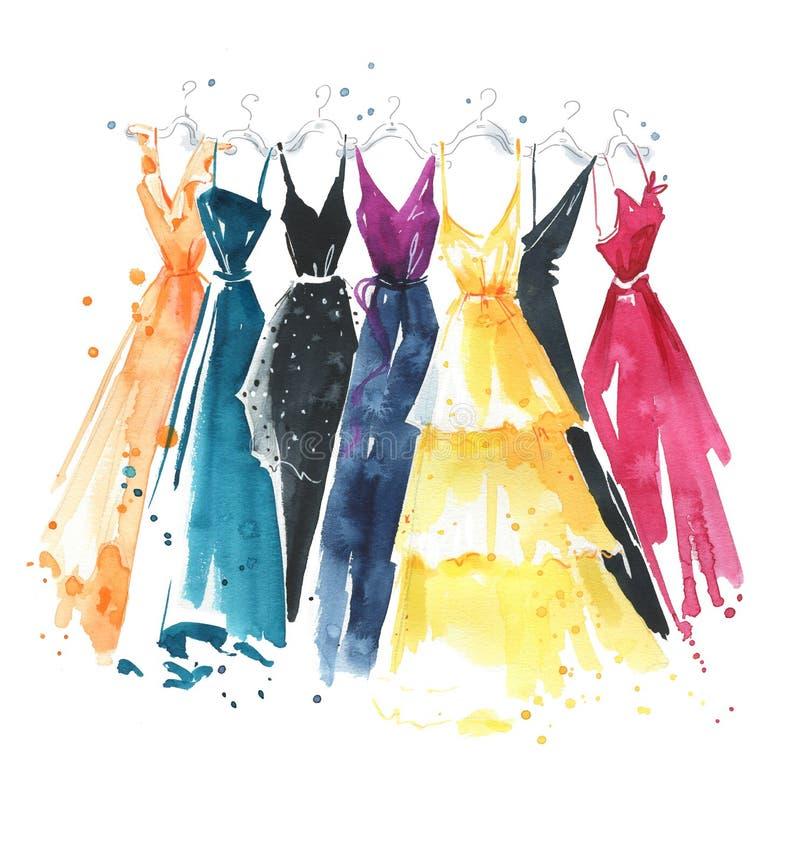 Ajuste dos vestidos da aquarela em ganchos, ilustração da forma ilustração stock