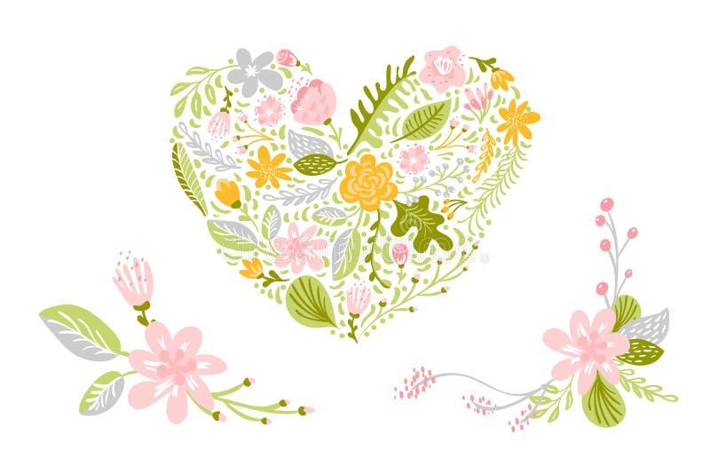 Ajuste dos vetores da flor nas cores pastel Floral isolado, ilustração lisa do coração no fundo branco Mola ilustração stock