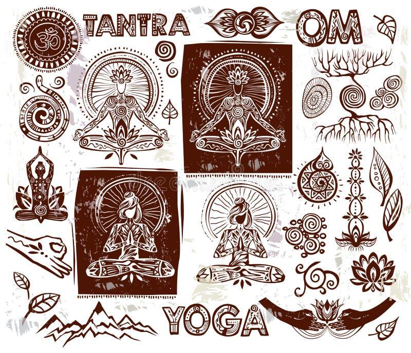 Ajuste elementos da ioga do vetor ilustração stock