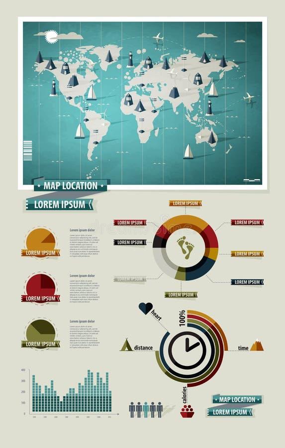 Ajuste elementos do infographics. Mapa de mundo ilustração do vetor