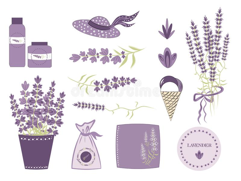 Ajuste elementos do vetor para o projeto da alfazema ao estilo de Provence, de flores da alfazema e de objetos para criar um româ ilustração royalty free