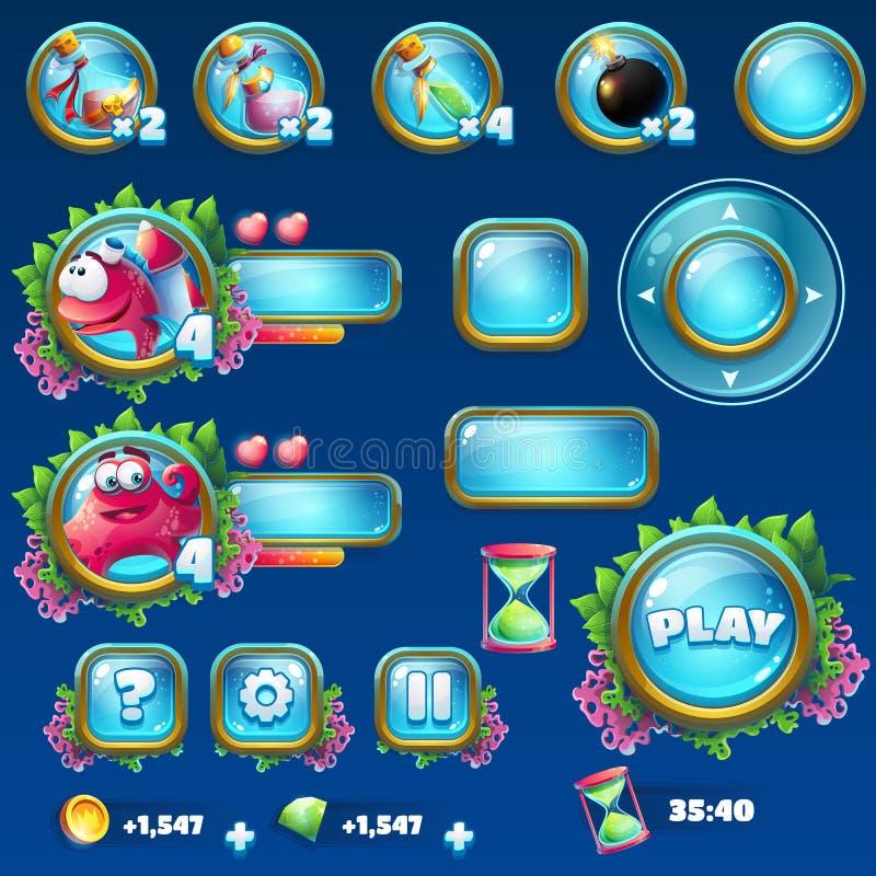 Ajuste elementos para o GUI das ruínas de Atlantis ilustração royalty free