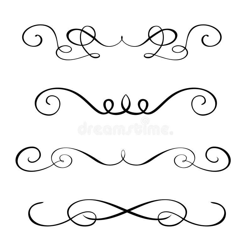 Ajuste elementos tirados mão da caligrafia do flourish Ilustração do vetor em um fundo branco ilustração stock
