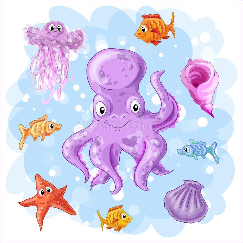 Ajuste em um tema do mar ilustração do vetor