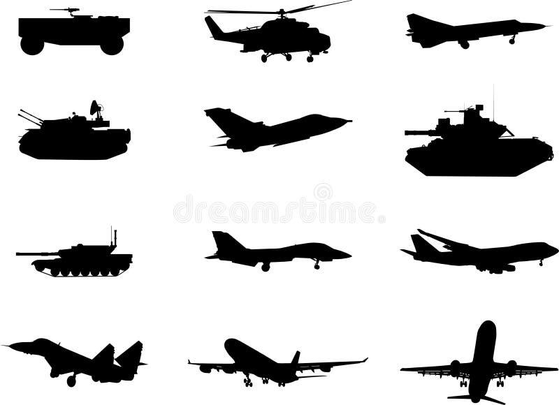 Ajuste em um tema militar ilustração do vetor