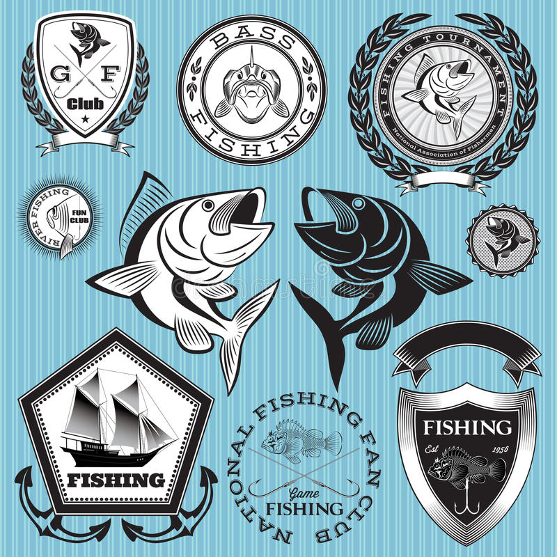 Ajuste emblemas do vetor na pesca do assunto ilustração stock