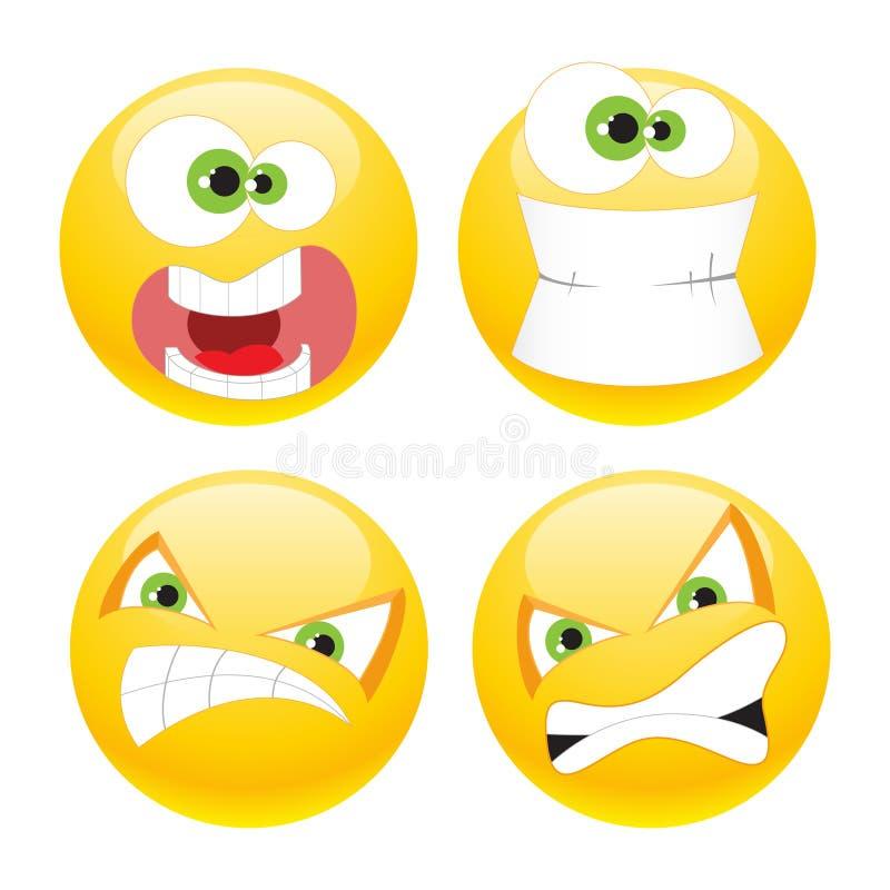 Ajuste emoticons ilustração royalty free