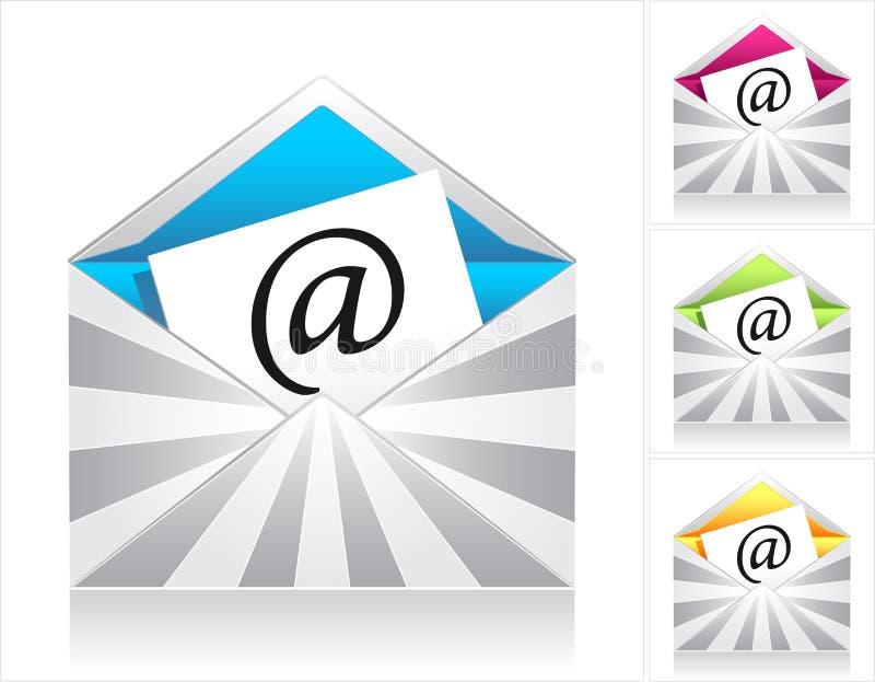 Ajuste envelopes com raios e o email de prata do símbolo ilustração do vetor