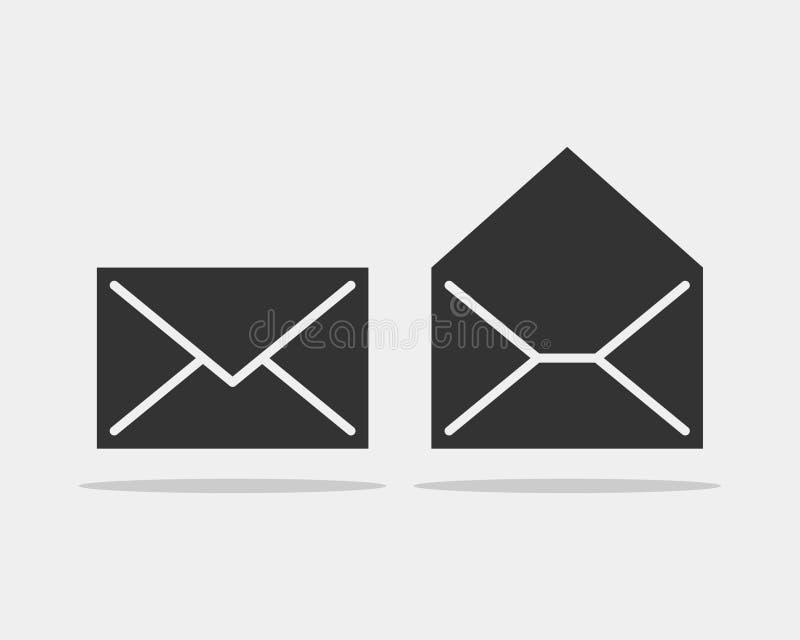 Ajuste envolvem a letra dos ícones Molde do vetor do ícone do envelope Elemento do símbolo do correio ilustração royalty free