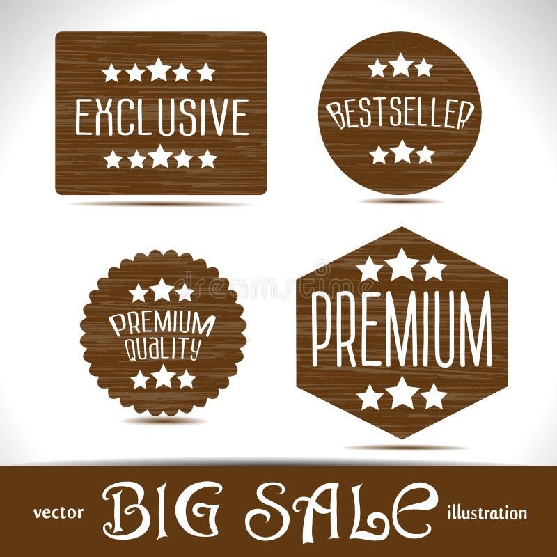 Ajuste etiquetas bem escolhidas da qualidade superior dos ícones as melhores na madeira textured ilustração stock