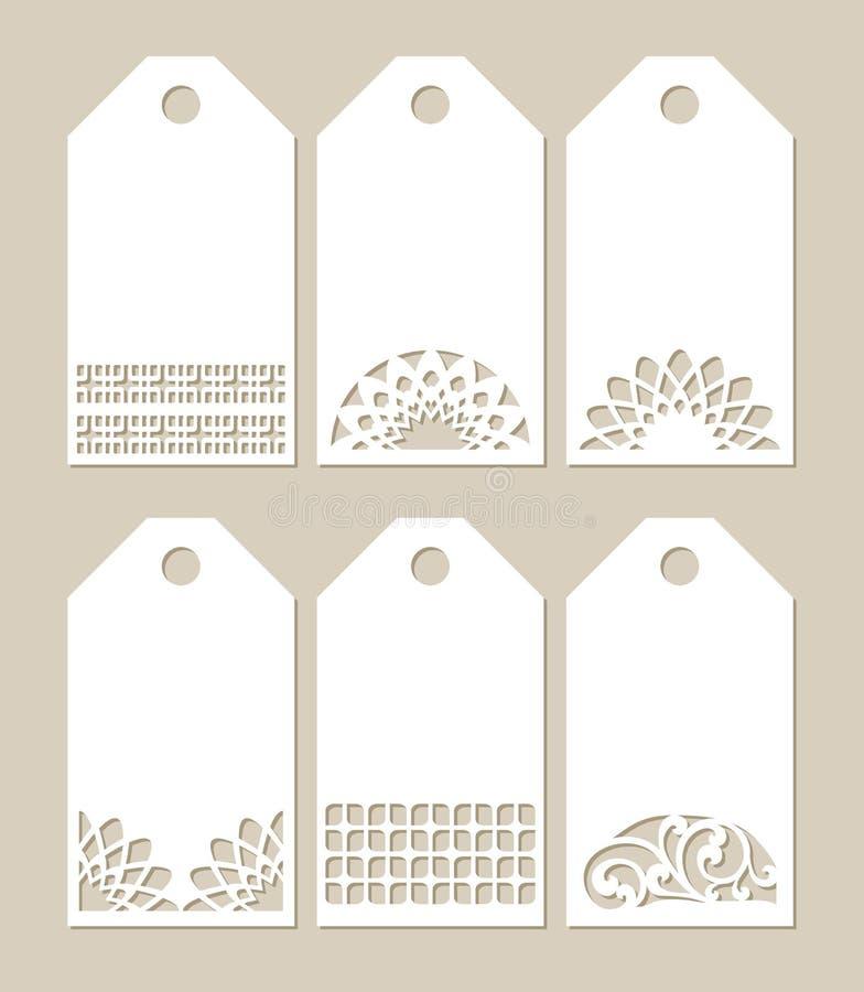 Ajuste etiquetas do estêncil com teste padrão cinzelado ilustração royalty free