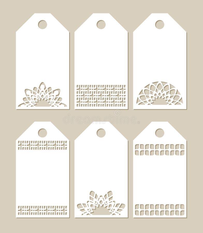 Ajuste etiquetas do estêncil com teste padrão cinzelado ilustração do vetor