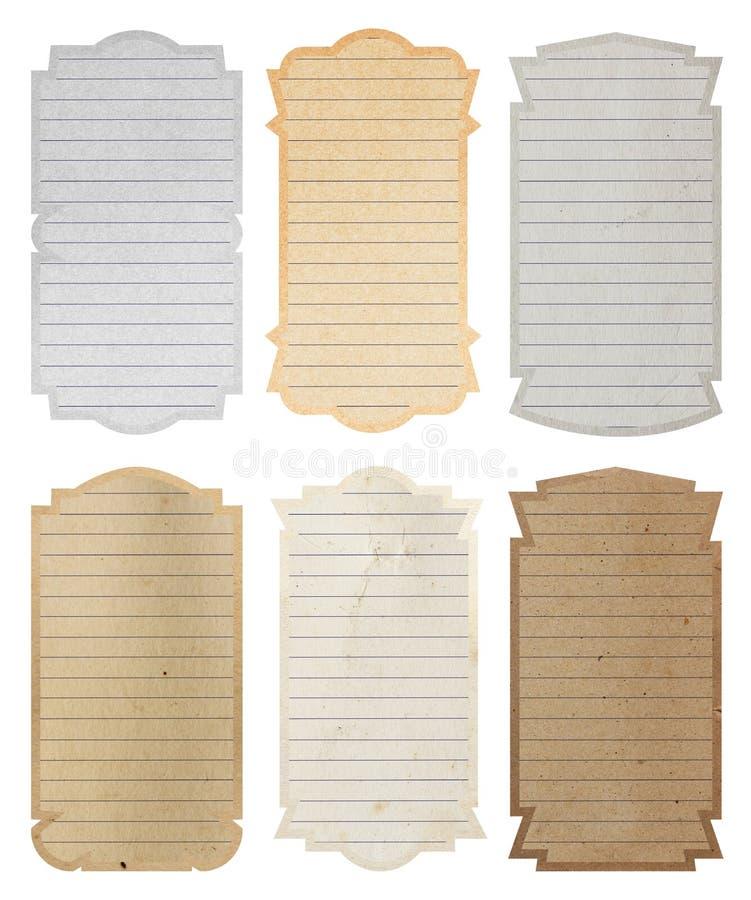 Ajuste etiquetas do vintage e o fundo de papel da textura do quadro imagens de stock royalty free