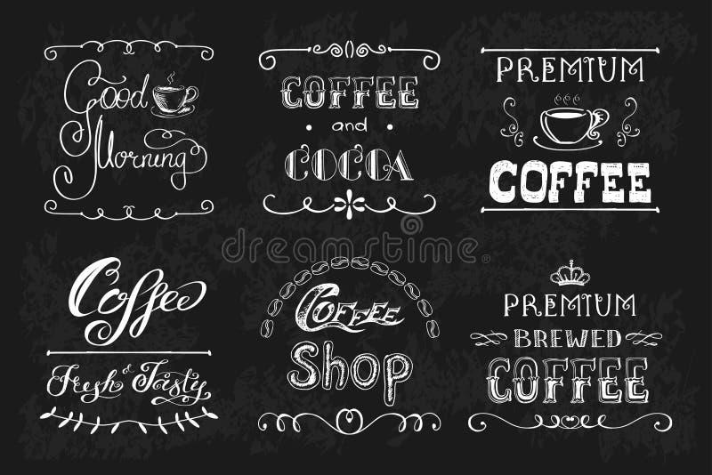 Ajuste etiquetas ou bandeiras do café ilustração stock