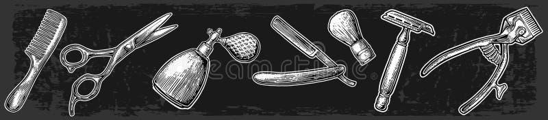 Ajuste a ferramenta para o barbeiro ilustração stock