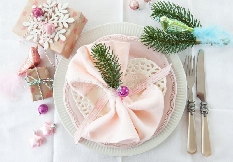 Ajuste festivo da tabela para o Natal foto de stock royalty free