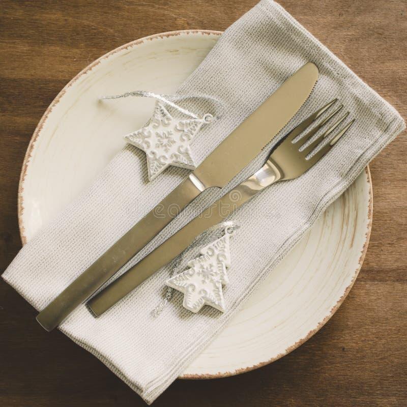 Ajuste festivo de la tabla para el día de fiesta de la Navidad fotografía de archivo