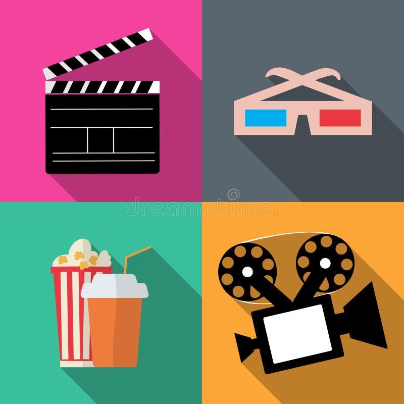 Ajuste filmes dos ícones em um estilo liso ilustração do vetor