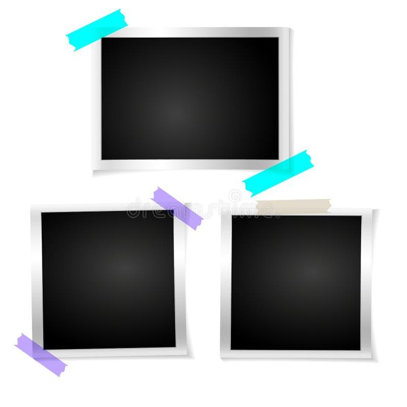 Ajuste a foto retro do quadro no fundo isolado branco Fotografia velha vazia horizontal do vintage Moldura para retrato quadrada  ilustração do vetor