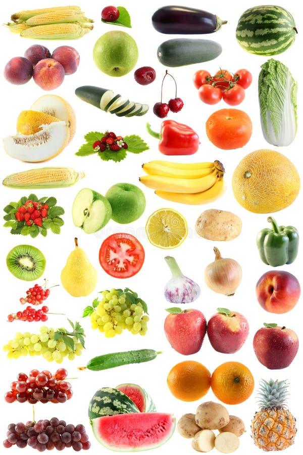 Ajuste a fruta, vegetais isolados imagens de stock