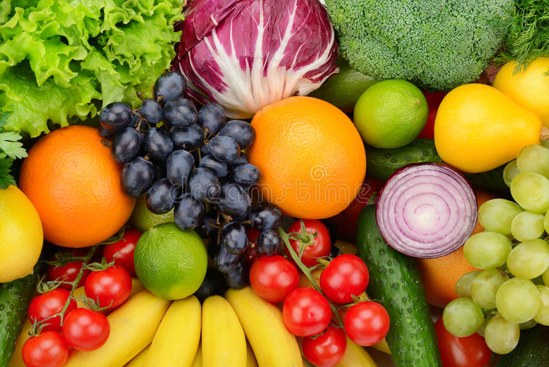 Ajuste frutas e legumes fotos de stock royalty free