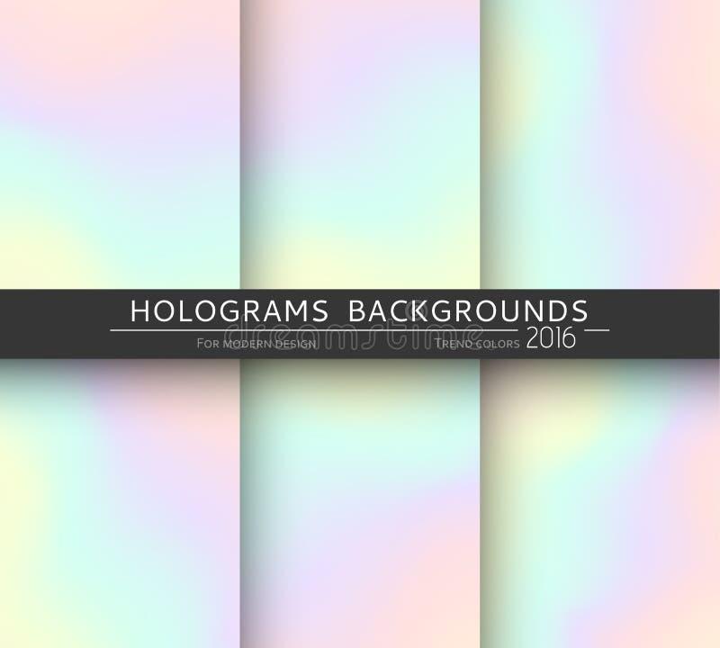 Ajuste 6 fundos holográficos realísticos em cores diferentes para o projeto ilustração do vetor