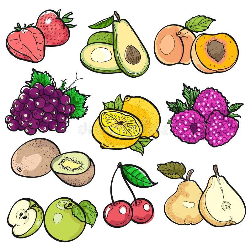 Ajuste a garatuja da cor dos frutos no fundo branco pela ilustração do vetor foto de stock royalty free