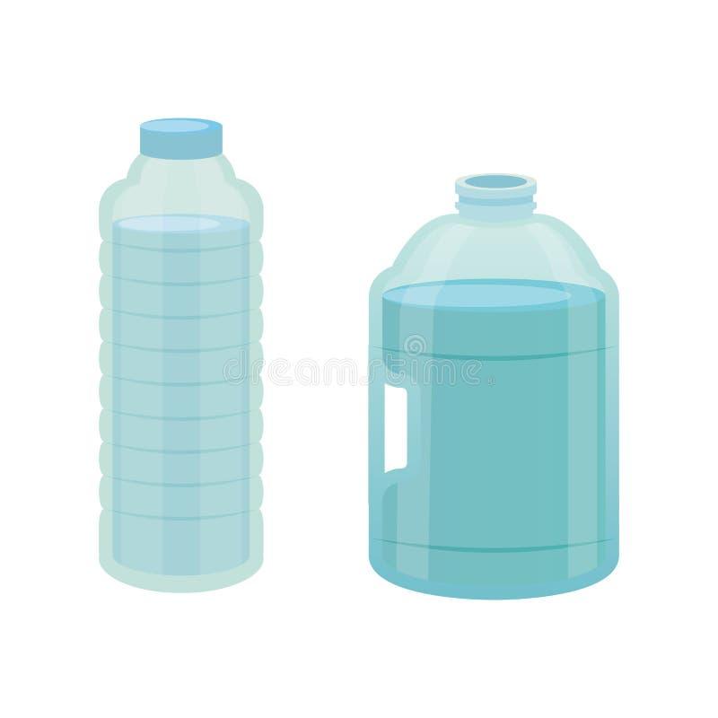 Ajuste a garrafa plástica da água pura, ilustração diferente do vetor do projeto da garrafa no estilo dos desenhos animados ilustração stock