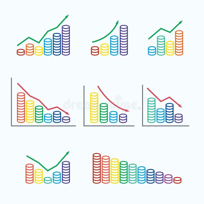 Ajuste gráficos e pilha de pilha colorida das moedas ilustração stock