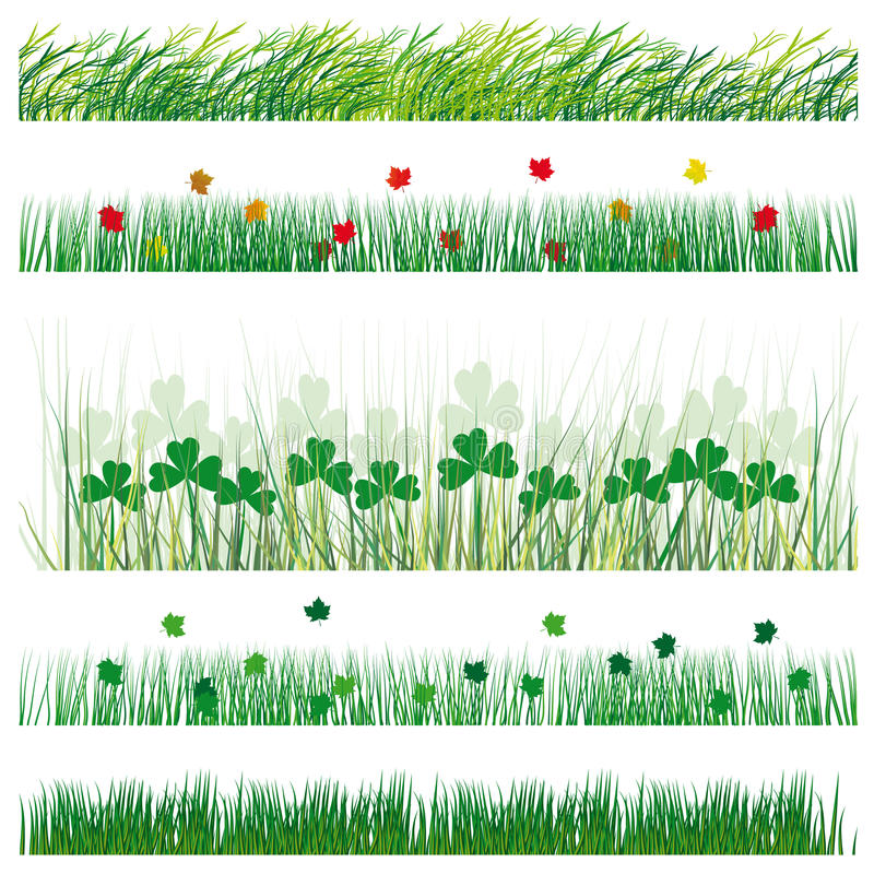 Ajuste a grama e as folhas ilustração royalty free