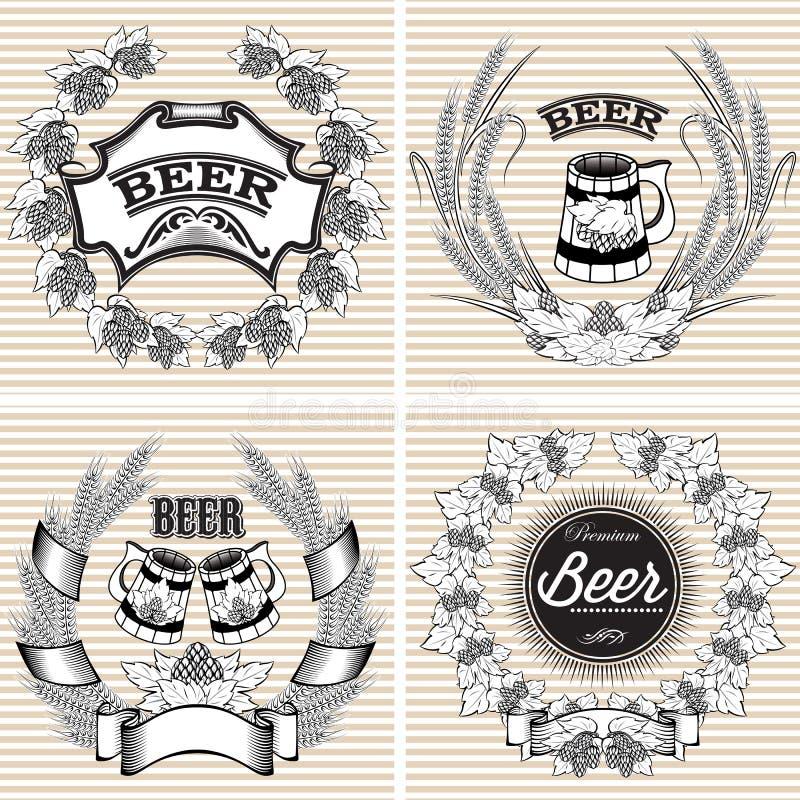 Ajuste grinaldas do vetor do centeio e dos lúpulos para a cerveja ilustração stock