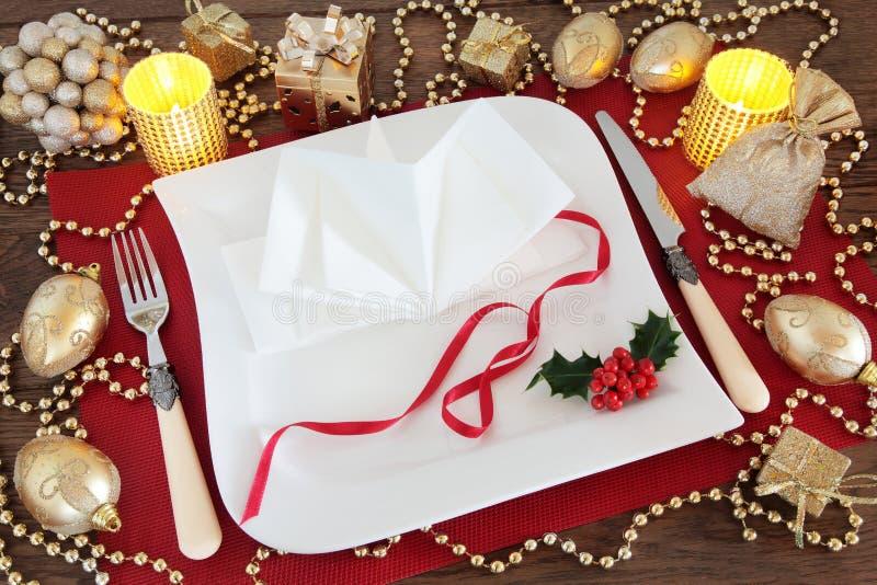 Ajuste hermoso de la tabla de la Navidad imagen de archivo libre de regalías