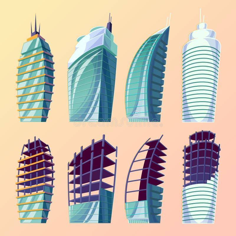 Ajuste a ilustração dos desenhos animados do vetor do grandes construções modernas urbanas abstratas, construções inacabados ilustração stock